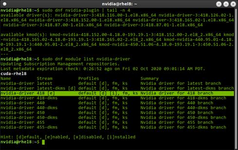 The terminal output of `sudo dnf module list nvidia-driver`.