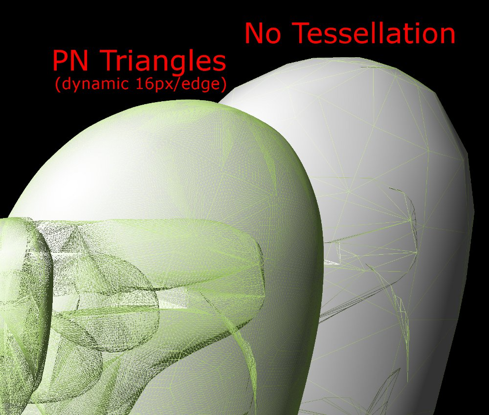 A close up shot of a tessellated head.  No displacement map here, just smoothing from PN triangles.  You've likely seen this type of shot many times before. Click to zoom.